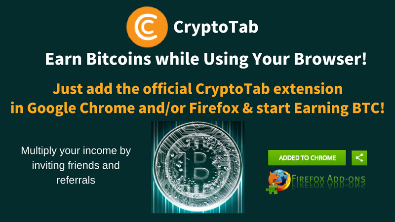 Earn Bitcoin CryptoTab Browser Extension graphic